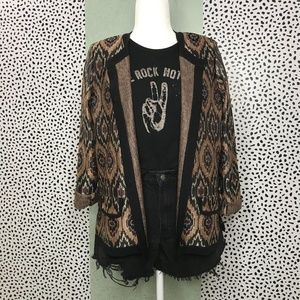 Exclusively Misook Ikat Brown and Black Cardigan